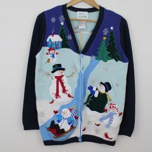 Quacker Factory Snowman Holiday Christmas Sweater